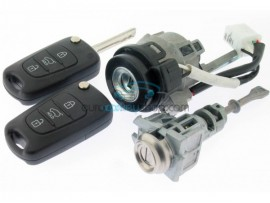 Hyundai complete lock set for I10 - including 2 keys - 433 Mhz - ID46 chip - key blade TOY49 - OEM product